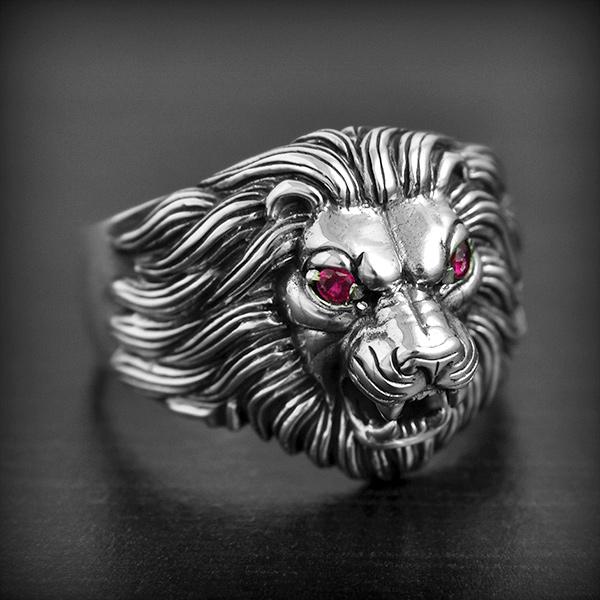 bague en argent tete de lion