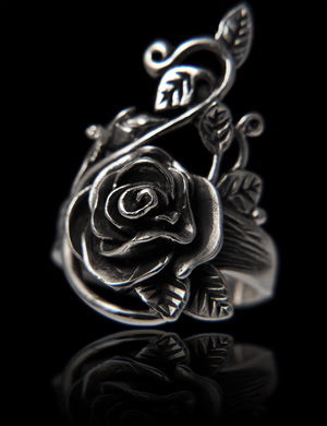 bague argent fleur rose