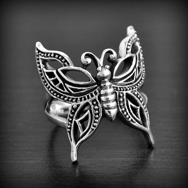 bague argent femme papillon