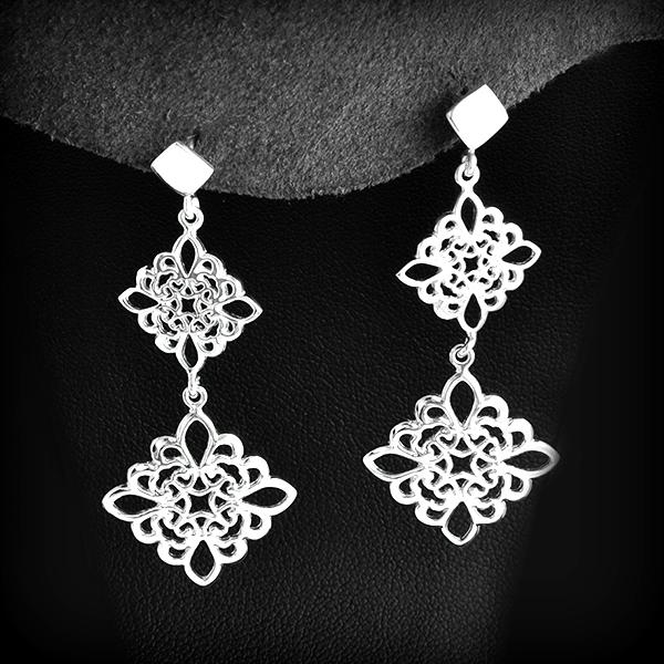 Boucles d 39 oreille argent pampilles dentelle excalibur bijoux - Boite a bijoux boucle d oreille ...