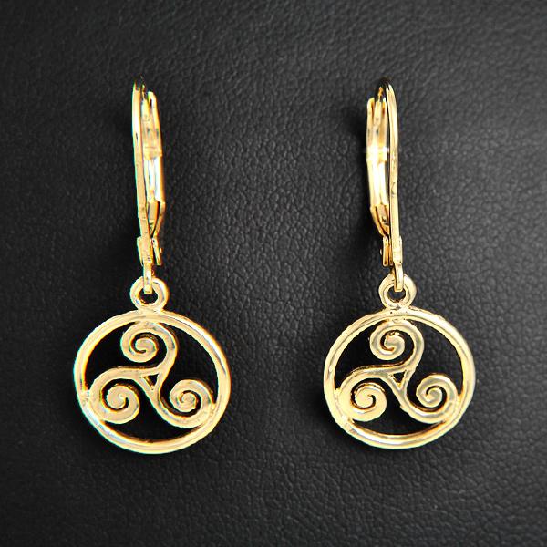 Boucles d 39 oreilles triskells cercl s plaqu or excalibur - Boite a bijoux boucle d oreille ...