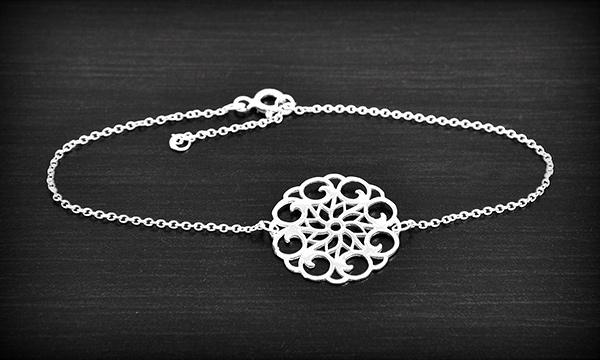 Bracelet Fin Rosace Argent