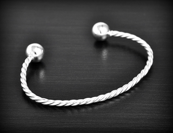 bracelet argent torsade