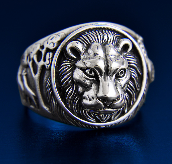 bague homme signe lion