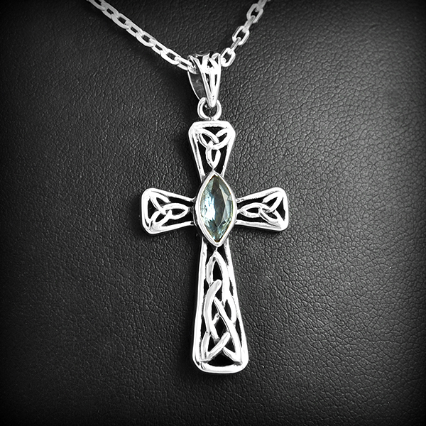 pendentif croix celte argent topaze excalibur bijoux. Black Bedroom Furniture Sets. Home Design Ideas