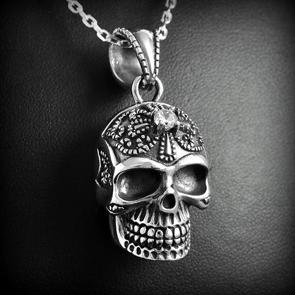 pendentif t te de mort argent excalibur bijoux